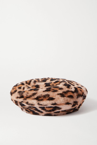 YVES SALOMON - Leopard-print Shearling Beret - Animal print