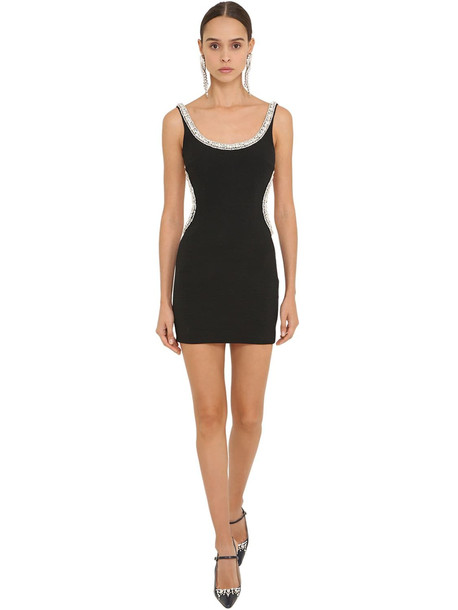 ALESSANDRA RICH Embellished Viscose Cady Mini Dress in black