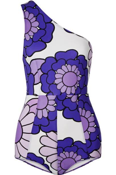 Dodo Bar Or - One-shoulder Floral-print Swimsuit - Purple
