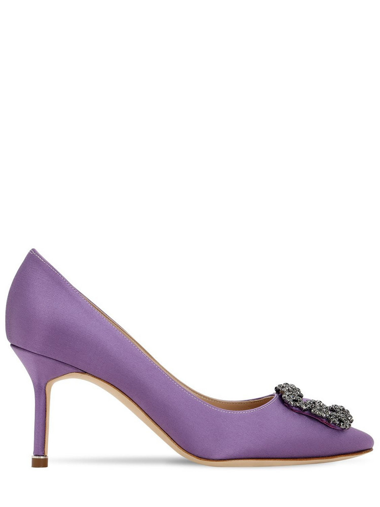 MANOLO BLAHNIK 70mm Hangisi Swarovski Silk Satin Pumps in lilac