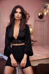 top,blouse,plunge v neck,plunge neckline,emily ratajkowski,model,black top,shorts,crop tops