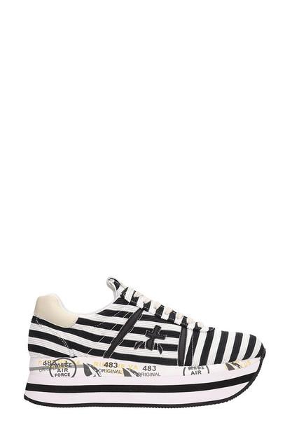Premiata Black And White Canvas Beth Sneakers