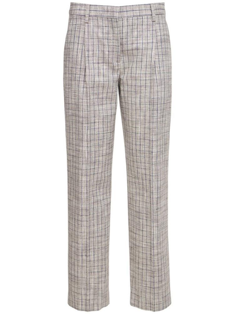 LARDINI Fenice Straight Silk Blend Pants in grey