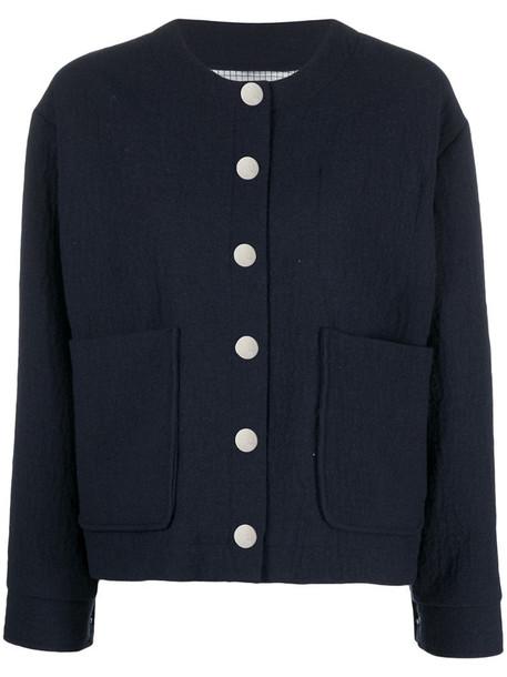 A.P.C. multi-pocket round-neck cardigan in blue