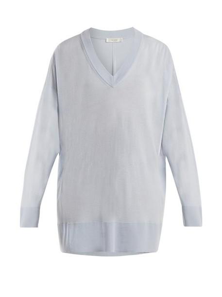 The Row - Sabrinah Oversized V Neck Wool Sweater - Womens - Light Blue