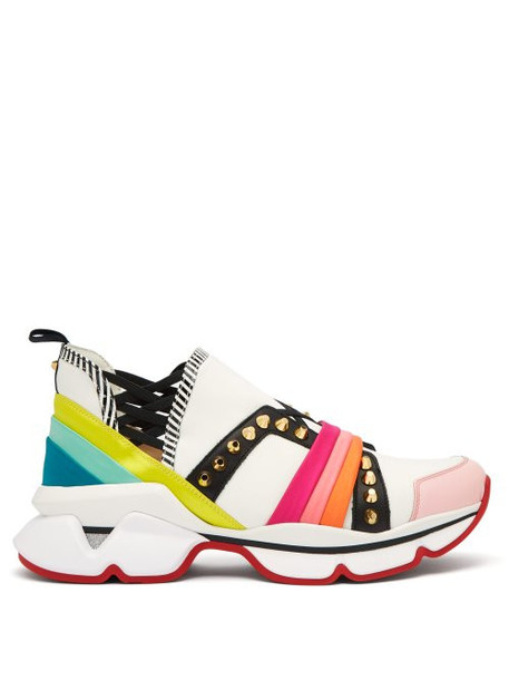 Christian Louboutin - 123 Run Studded Low Top Trainers - Womens - White Multi