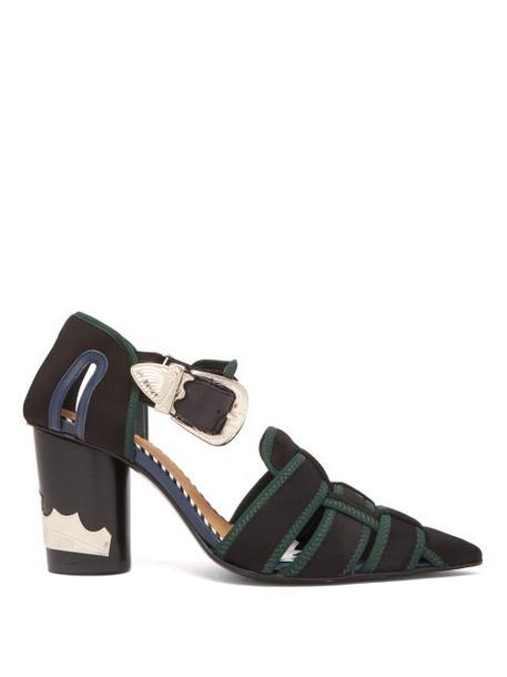 Toga - Neoprene Strap Ankle Boots - Womens - Black Green