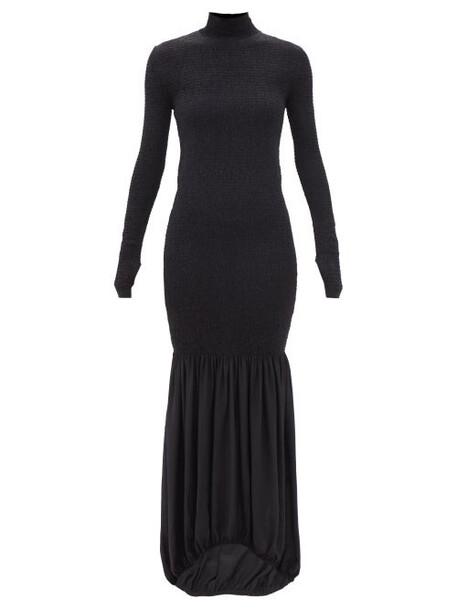 Petar Petrov - Annick High-neck Shirred Silk-crepe Dress - Womens - Black