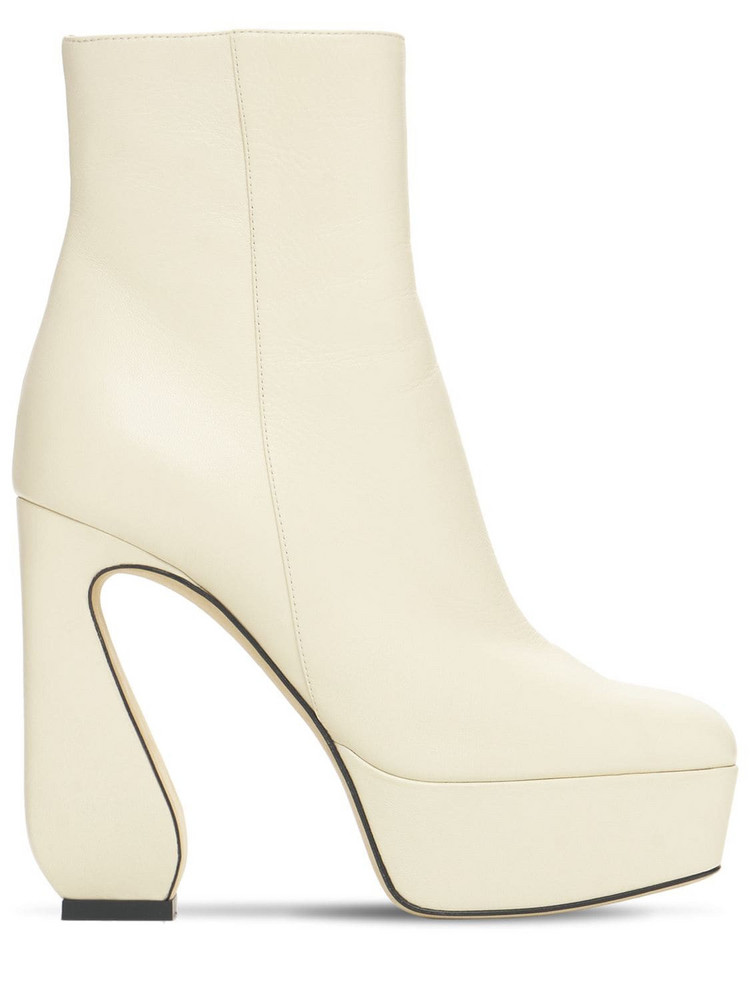 SI ROSSI 125mm Platform Leather Ankle Boots in cream