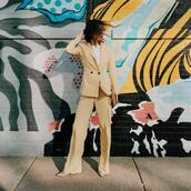pants,wide-leg pants,yellow pants,h&m,blazer,double breasted,pumps,brown bag,white t-shirt