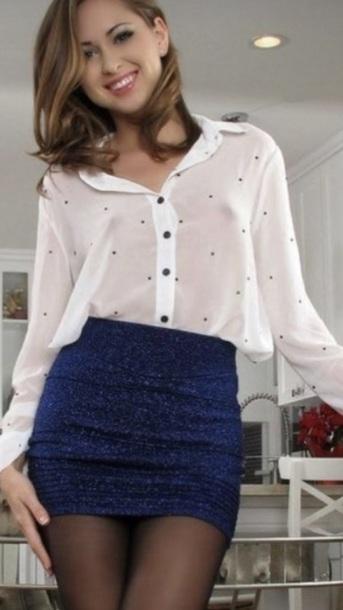 blouse skirt blue skirt white blouse