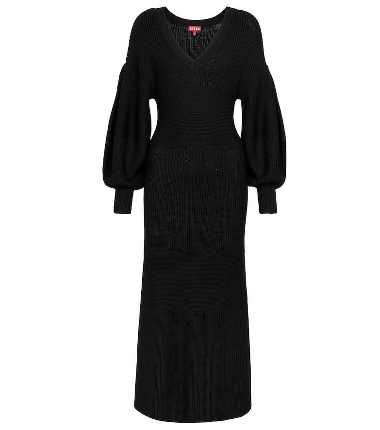 Staud Carnation ribbed-knit midi dress in black