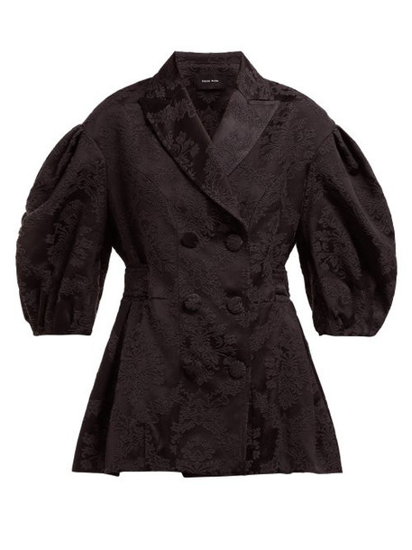 Simone Rocha - Floral Jacquard Double Breasted Jacket - Womens - Black