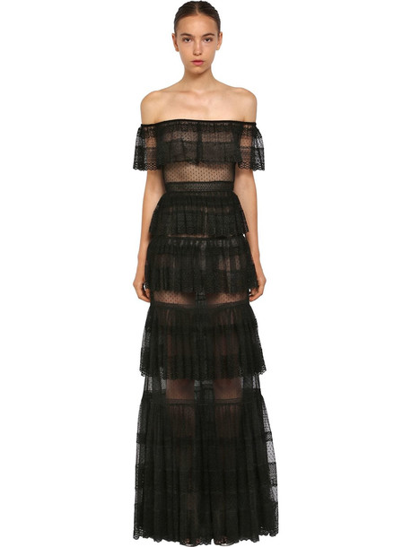 00a61d09d ZUHAIR MURAD Tulle & Lace Off The Shoulder Dress in black - Wheretoget