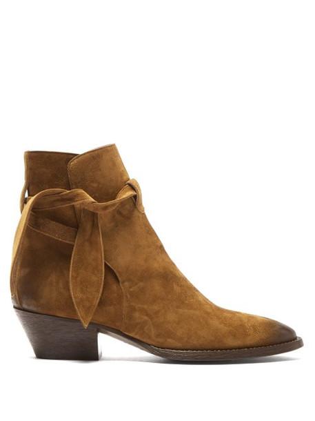 Saint Laurent - Tie Side Suede Ankle Boots - Womens - Tan