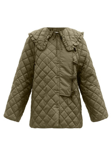 Ganni - Ruffled-collar Quilted Recycled-fibre Ripstop Coat - Womens - Khaki