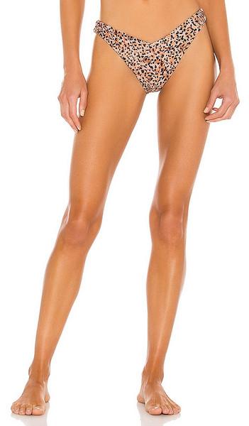 MINKPINK Bandhra V Bikini Bottoms in Tan in multi