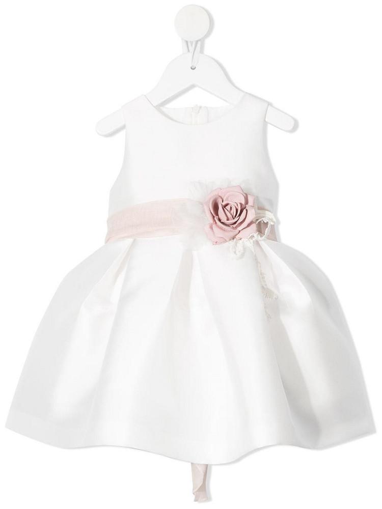 Mimilù Mimilù floral ribbon belt flared dress - White