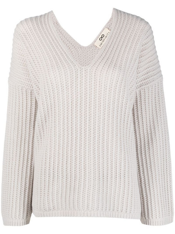 Sminfinity ribbed-knit cashmere jumper in neutrals