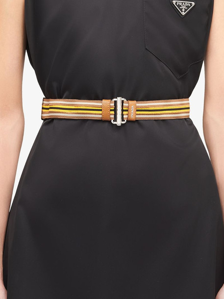 Prada striped buckle belt in brown