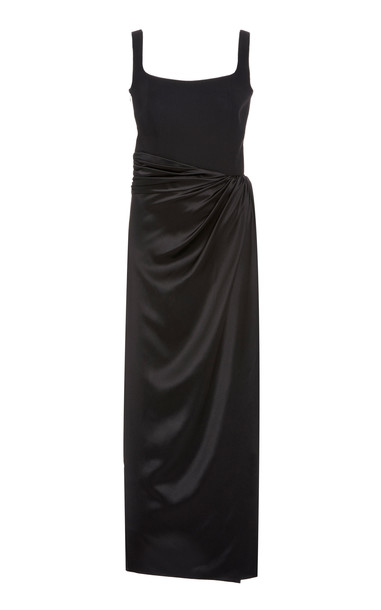 Brandon Maxwell Wrap-Effect Silk Dress in black