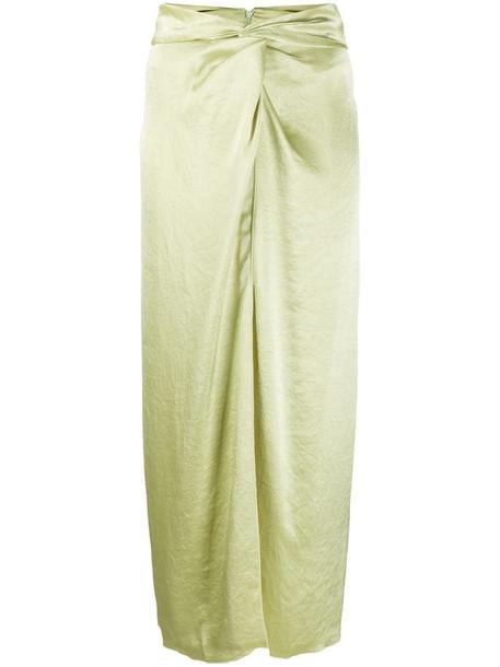 Nanushka Samara satin midi skirt in green