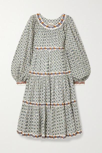 Tory Burch - Filippa Tiered Printed Cotton-voile Dress - Ecru