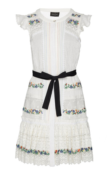 Saloni SpecialOrder - Bea Pintuck Embroidered Lace Cotton Mini Dress - in white