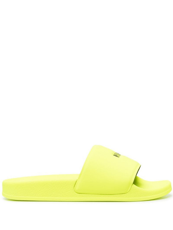 MSGM logo-print slides in yellow