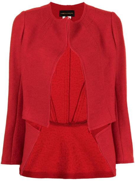 Comme Des Garçons short peplum jacket in red