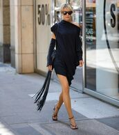 shoes,black sandals,knitted dress,black dress,black bag