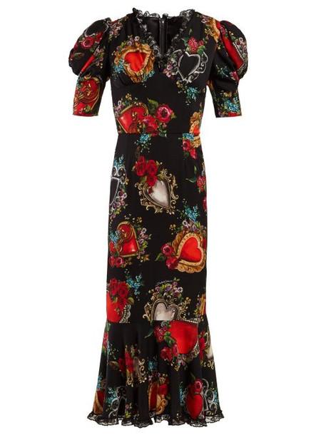 Dolce & Gabbana - Secret Hearts Print Silk Blend Dress - Womens - Black Multi