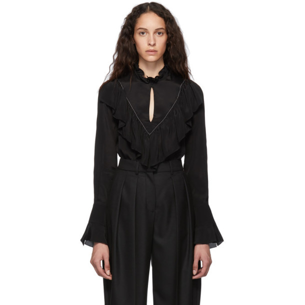 See by Chloe Black Crepe de Chine Blouse