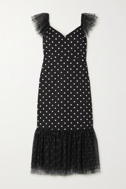 STAUD - Marwa Ruffled Polka-dot Cotton-blend And Tulle Midi Dress - Black