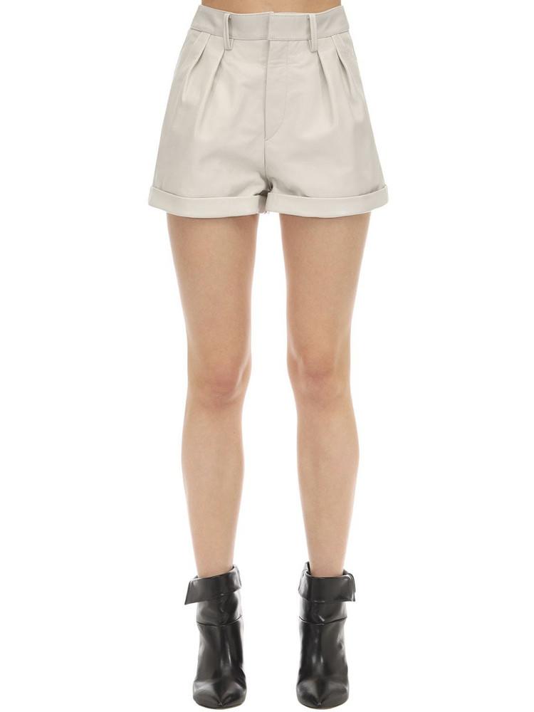 ISABEL MARANT Fabot Leather Shorts in ivory