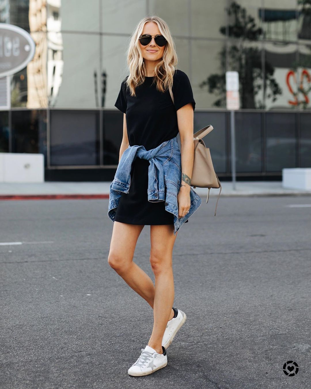dress black dress mini dress white sneakers denim jacket bag