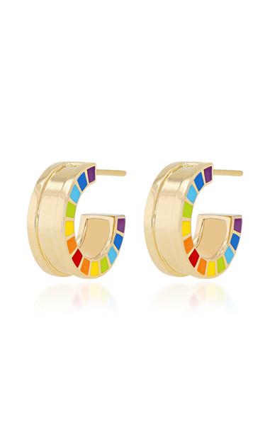 Aisha Baker Me 18K Gold Enamel Earrings in multi