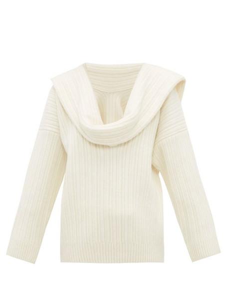 Jacquemus - Draped Sleeve Virgin Wool Blend Sweater - Womens - Ivory