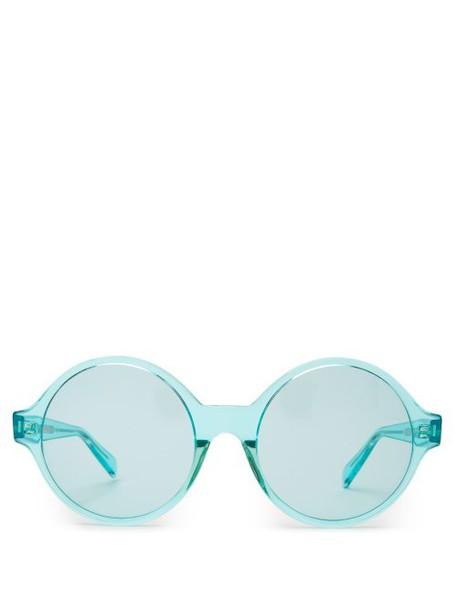 Celine Eyewear - Oversized Round Frame Acetate Sunglasses - Womens - Light Blue