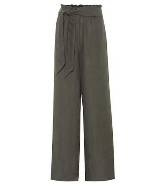 Asceno High-waisted linen pants in green
