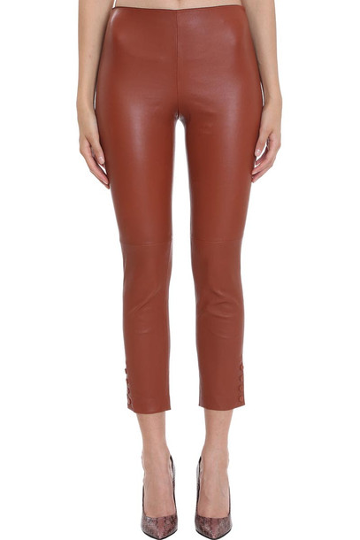 Theory Pants In Brown Leather