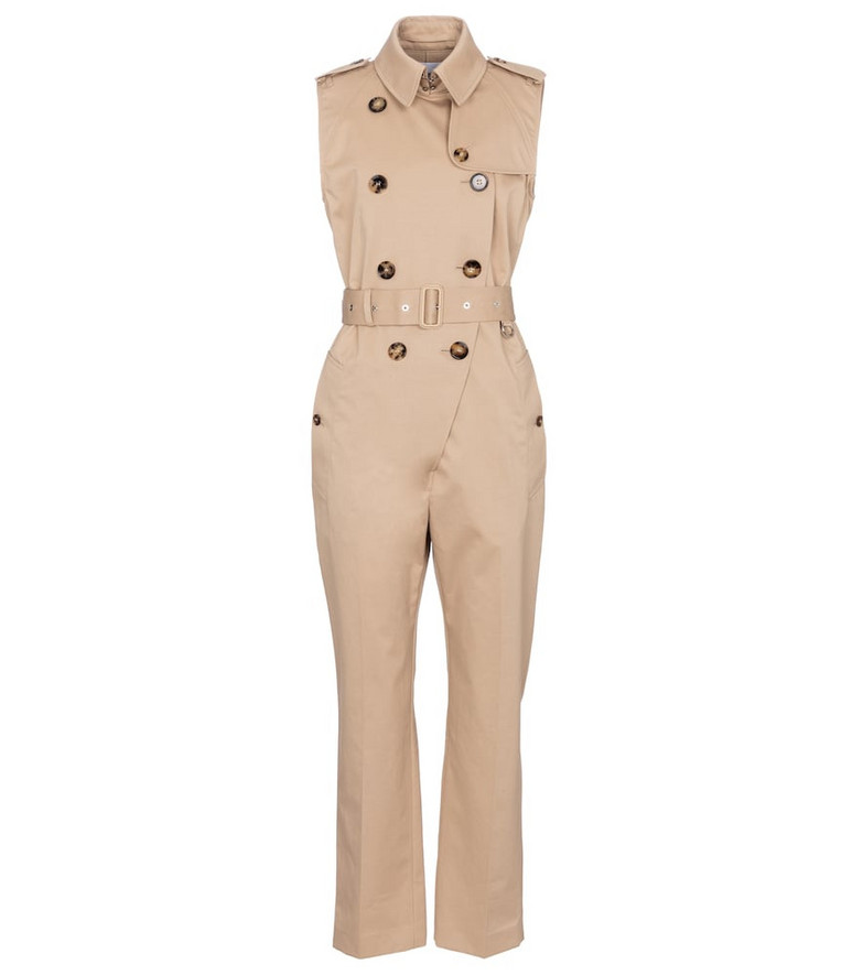 Burberry Cotton gabardine jumpsuit in beige