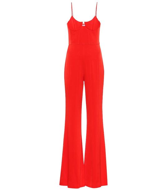 Galvan Phoebe crêpe jumpsuit in red