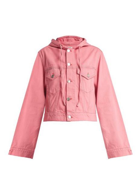Ganni - Hooded Denim Jacket - Womens - Pink