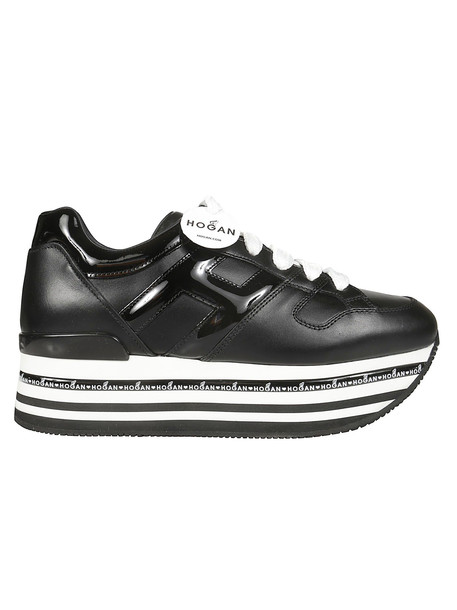 Hogan Striped Platform Sneakers in black / white