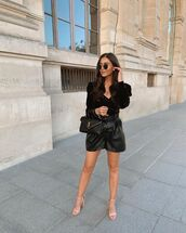 shorts,black shorts,leather shorts,sandal heels,velvet,top,ysl bag