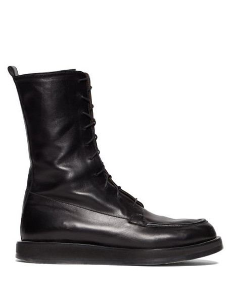 The Row - Patty Lace Up Leather Combat Boots - Womens - Black