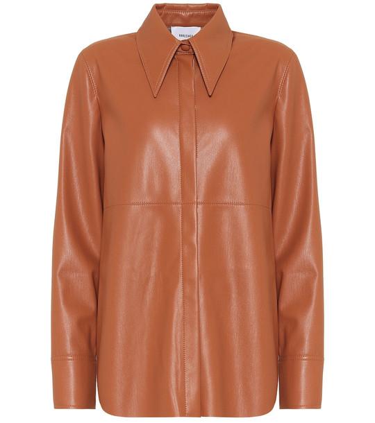 Nanushka Noelle faux-leather shirt in brown