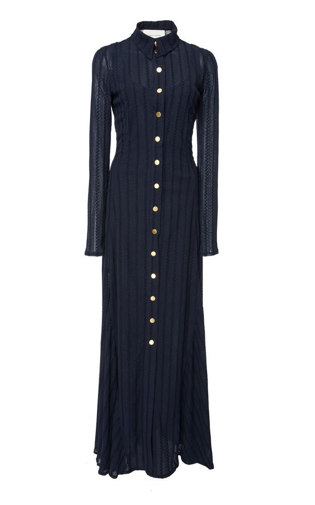 Cédric Charlier Long-Sleeve Cotton-Blend Maxi Dress in navy