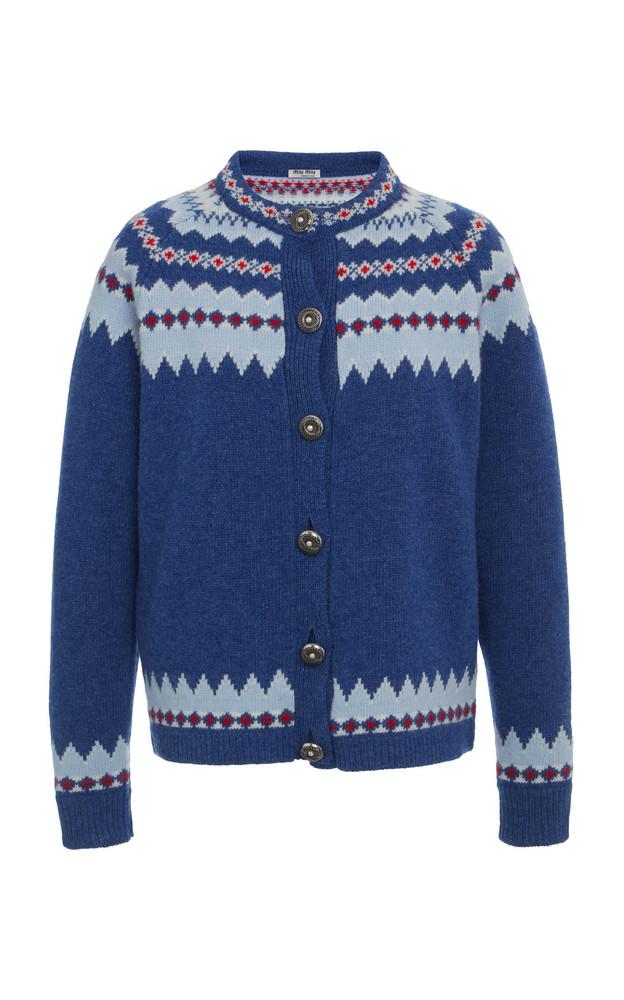 Miu Miu High Neck Cardigan Size: 36 in blue